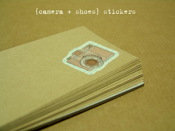 아날로그 스타일 스티커 - camera+shoes
