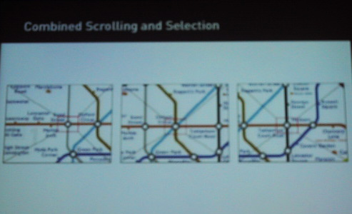 Combined Scrolling and Selection, from Sony's Gummi Prototype, CHI 2004 Presentation