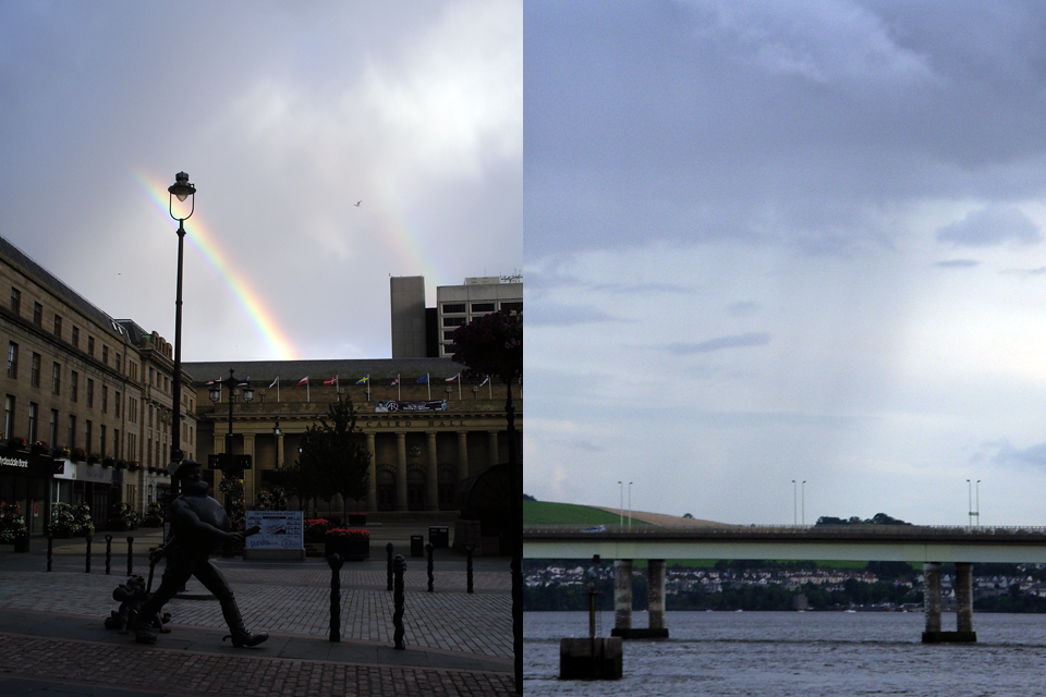 Rainbow and Shower at the same moment of Scotland