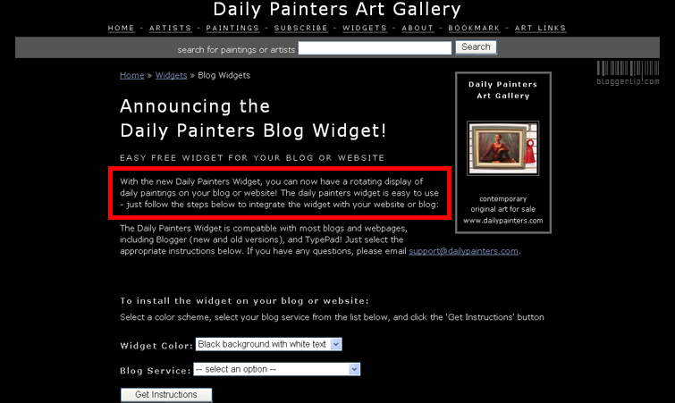 Daily Painters Widget