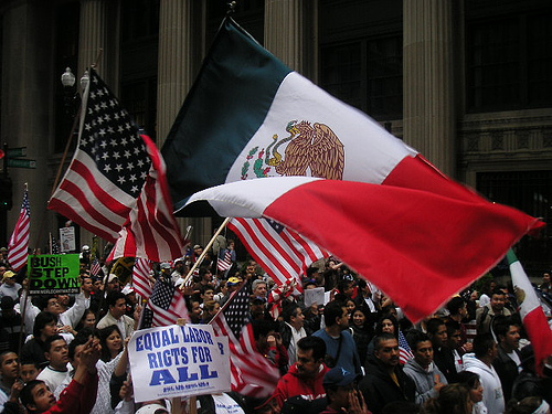 Flags at Chicago Immigration March