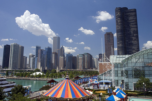 View of Navy Pier from Ferris Wheel
