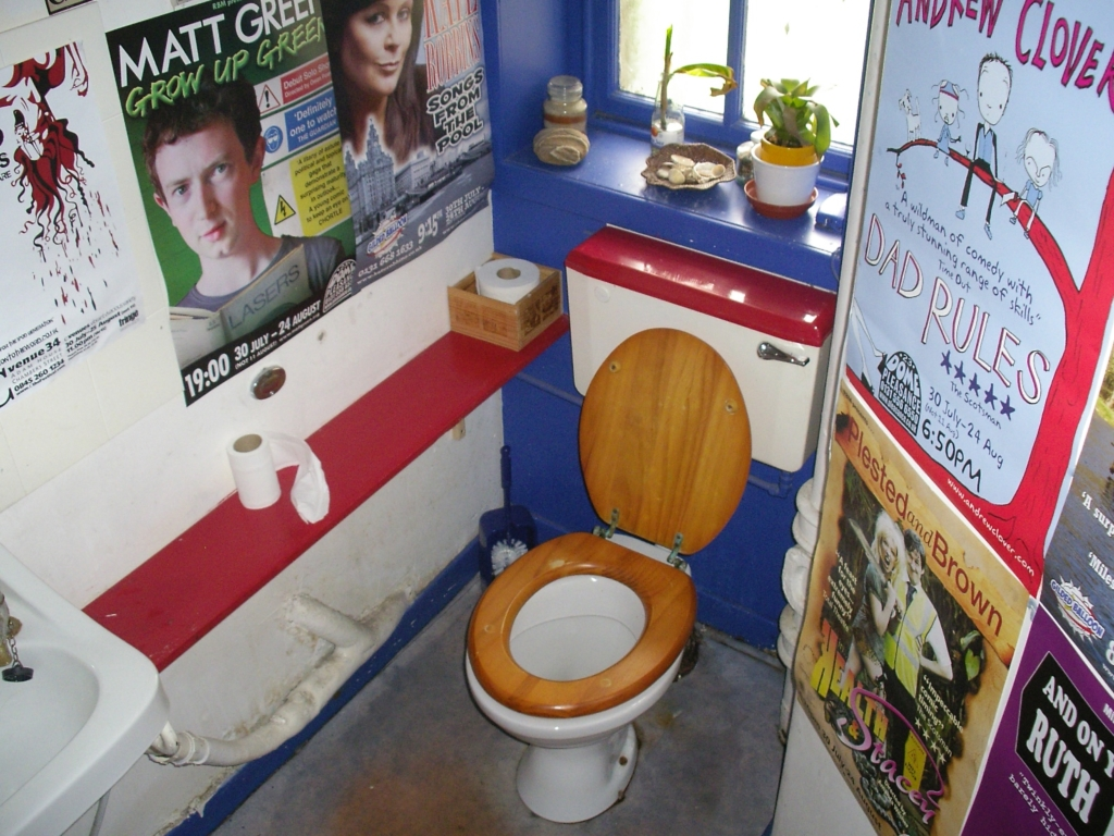 Restaurant Toilet Covered with Posters