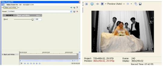 [Video Event FX Window]의 모습 / 배경이 흑백으로 바뀐 모습