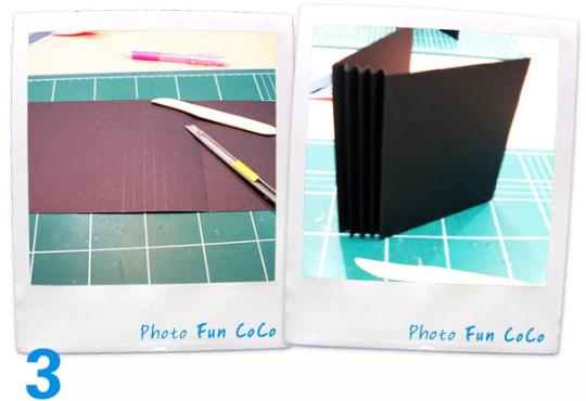 학교 다닐 때 가사 시간에 바느질한 이후로 내 손으로 무언가를 만들어 본 것도 정말 오랜만이었다 우선 속지의 기본이 되는 검은 종이를 재단하고 중간에는 포켓 종이를 끼울 수 있는 홈을 부채 접기 식으로 만들었다.