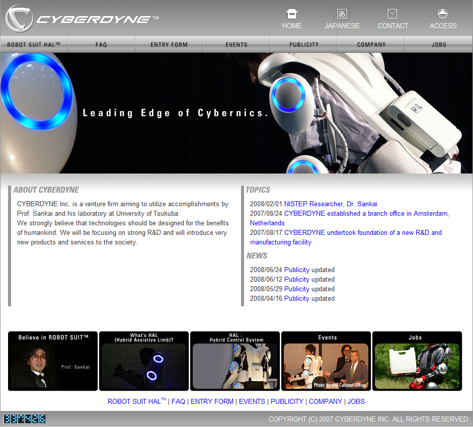 Screenshot of Cyberdyne Website