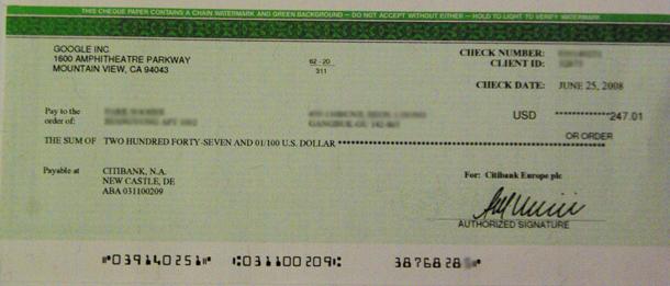 애드센스 수표 $247
